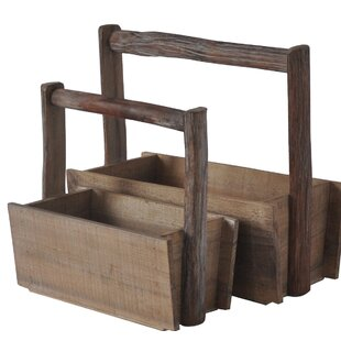 Storage Wood Crate With Handle