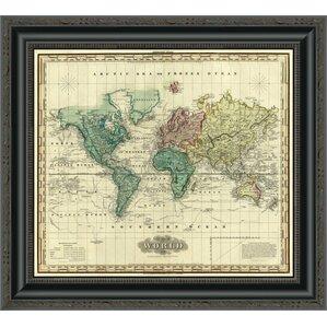 World Map Framed Art Youll Love Wayfair - 1823 us map
