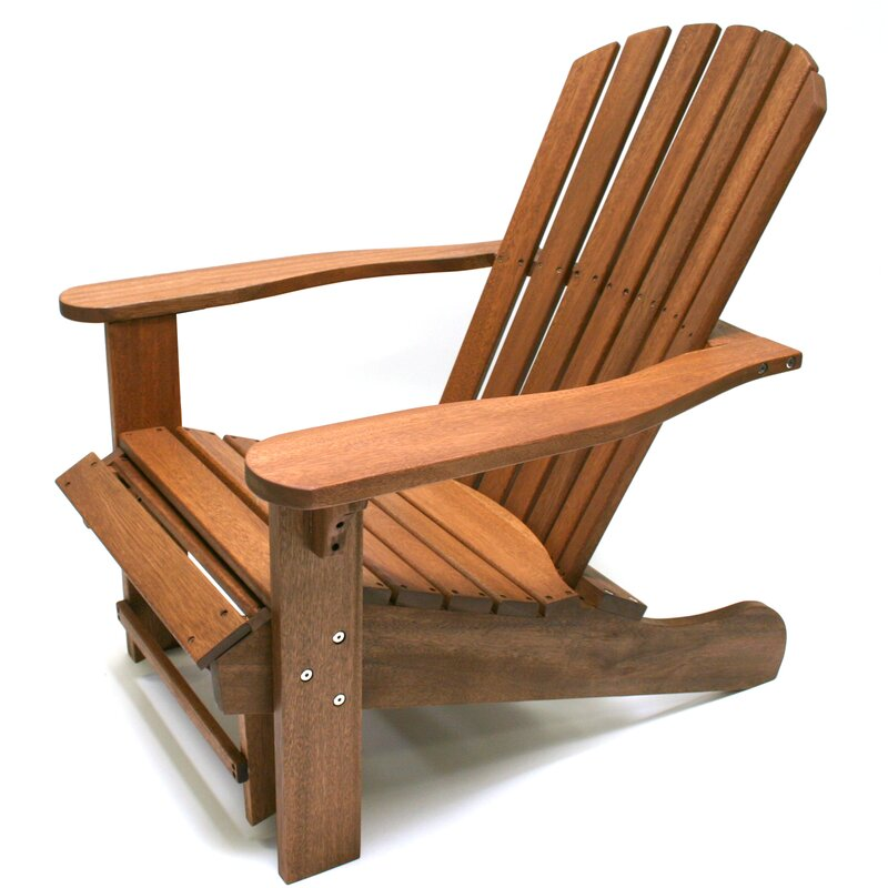 Beau Solid Wood Adirondack Chair With Ottoman