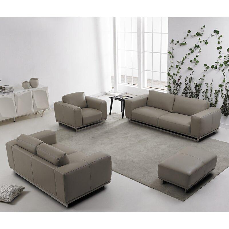DavidDivaniDesigns 4 Piece Leather Living Room Set
