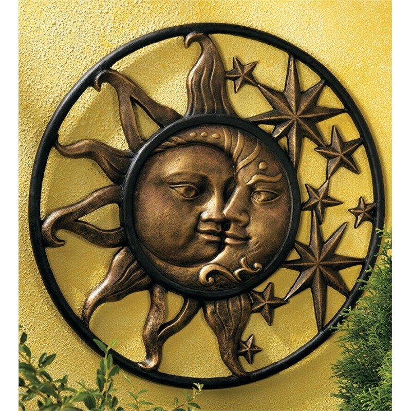 Wind Weather Handcrafted Aluminum Sun And Moon Face Sculpture Wall Décor Reviews Wayfair Ca
