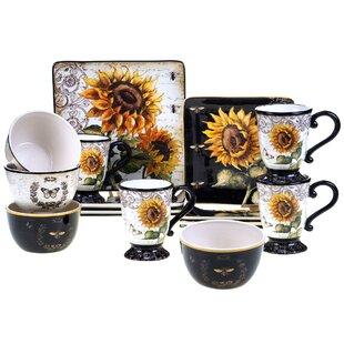 French Sunflower 16 Piece Dinnerware Set Service for 4  sc 1 st  Wayfair & Honey Bee Dinnerware | Wayfair