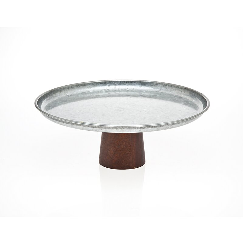 Homer Plate Cake Stand with Wood Base  sc 1 st  Wayfair & Laurel Foundry Modern Farmhouse Homer Plate Cake Stand with Wood ...