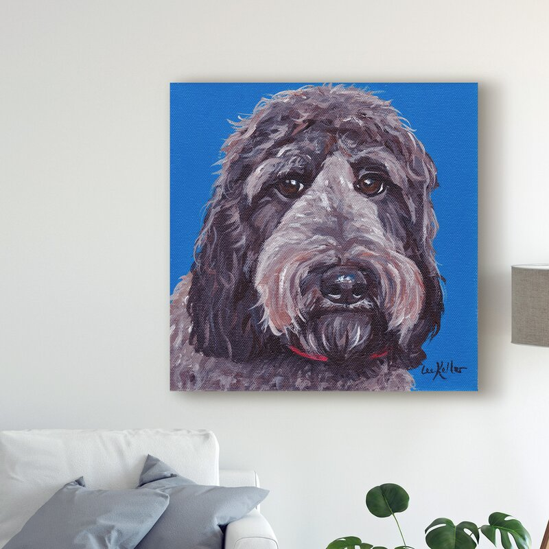 'Labradoodle Black On Blue' Acrylic Painting Print on Wrapped Canvas