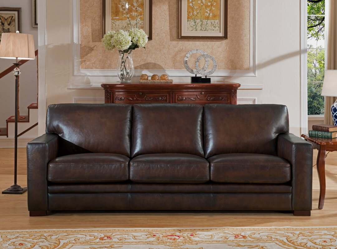 World Menagerie Mcdonald Leather Sofa & Reviews