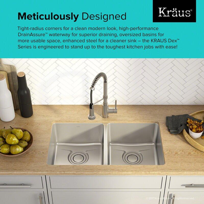 dex    series 33   x 19   double basin undermount kitchen sink kraus dex    series 33   x 19   double basin undermount kitchen sink      rh   wayfair com