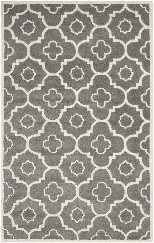 Wilkin Moroccan Hand Tufted Wool Dark Gray/Ivory Area Rug