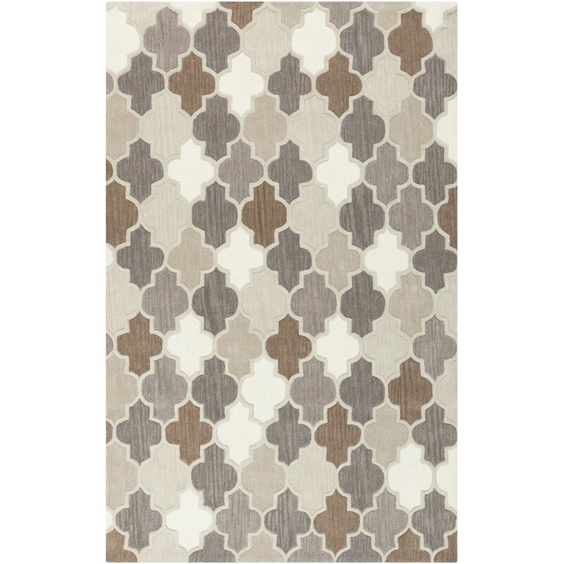 Alcott Hill Billmont Hand-Knotted Wool Taupe/Gray Area Rug, Size: Rectangle 8 x 11