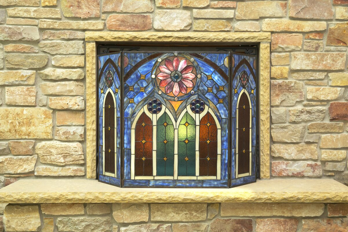 River Of Goods Roman Cathedral 3 Panel Stained Glass Fireplace Screen Reviews