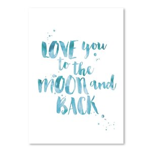 Love You To Moon Back Watercolor Paper Print