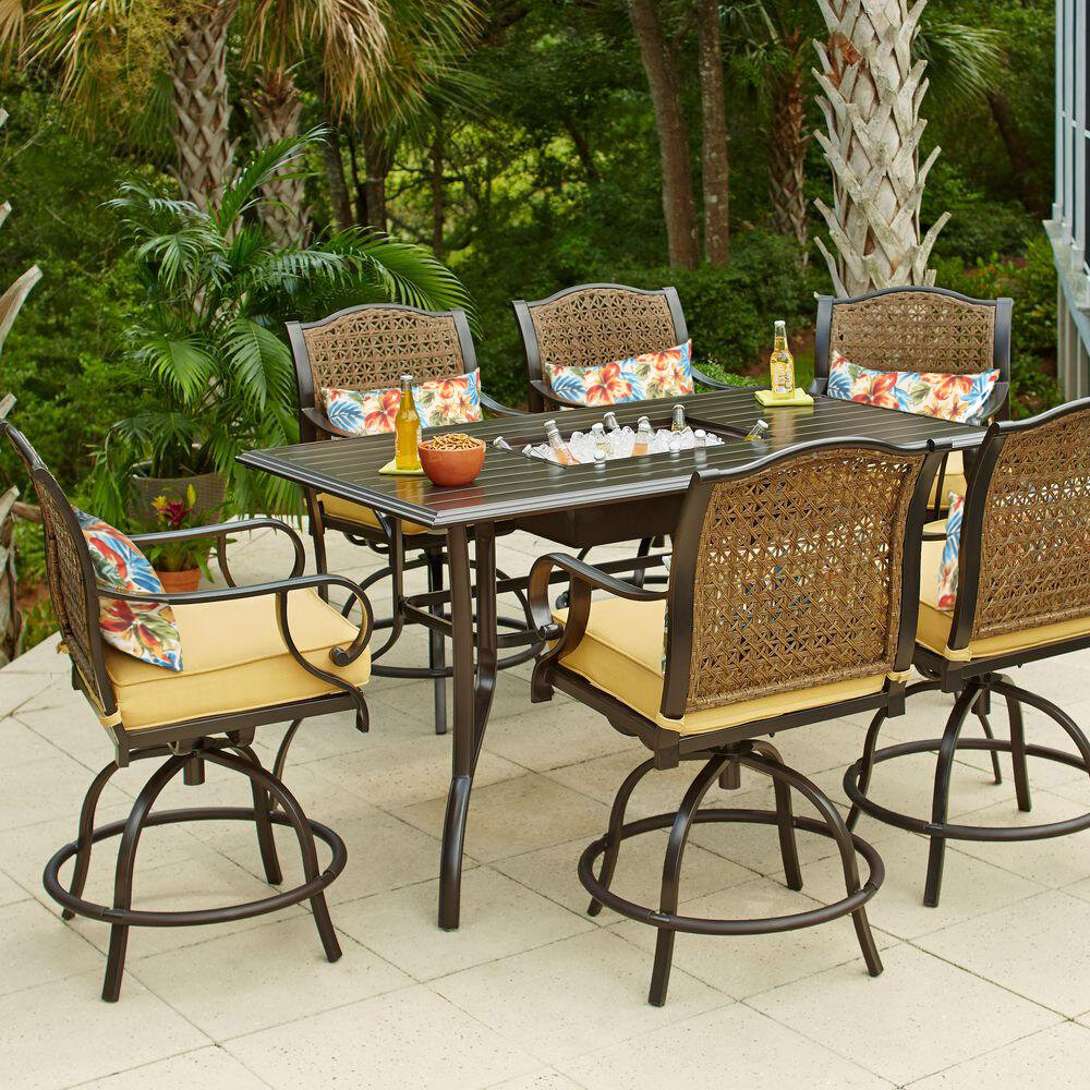 Sensational Sierra 7 Piece Bar Height Dining Set With Cushions Home Interior And Landscaping Ologienasavecom