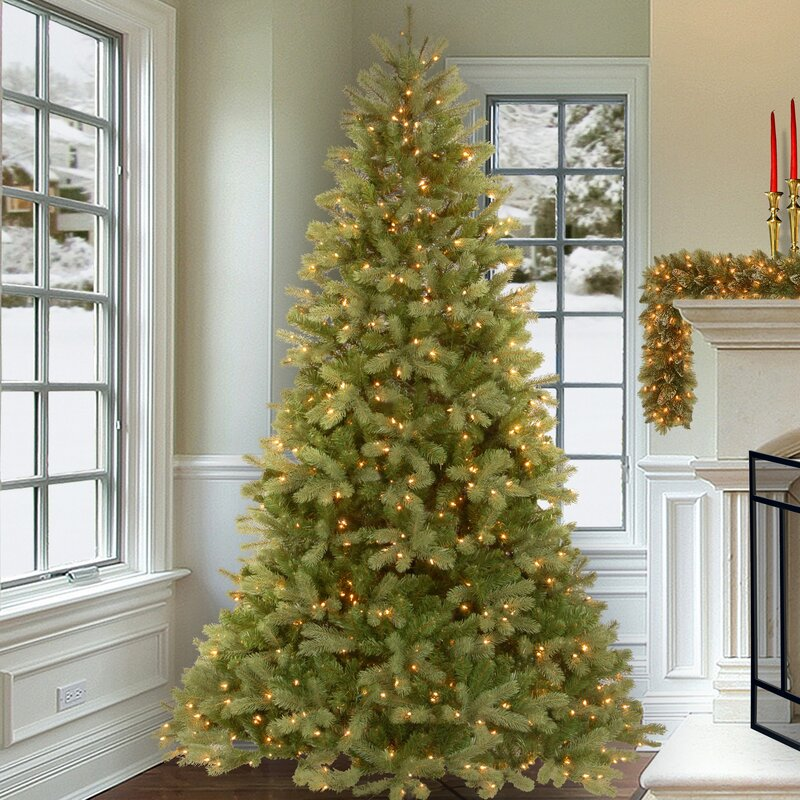 Downswept Douglas Green Fir Artificial Christmas Tree With Clear Lights Stand