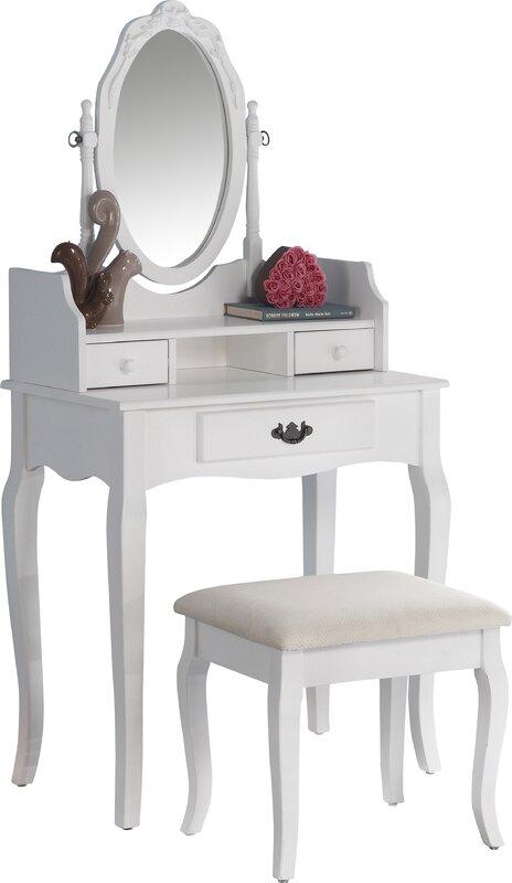 oak makeup vanity set. Emmett Ribbon Wood Makeup Vanity Set with Mirror Alcott Hill