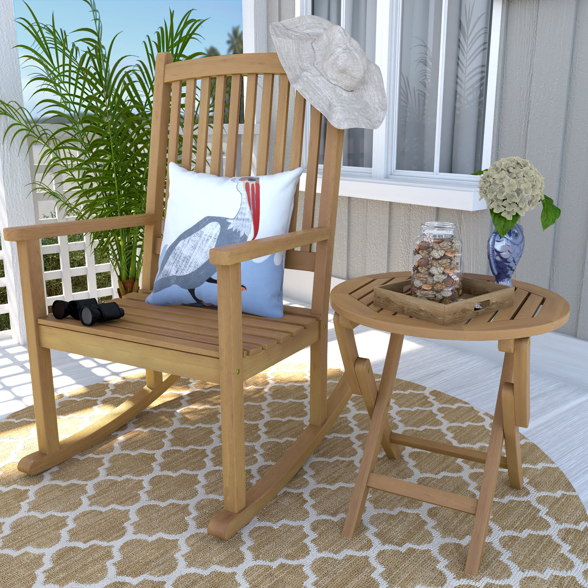 Beachcrest Home Bristol 2 Piece Patio Chair and Table Set