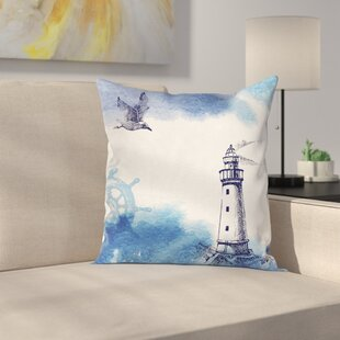 Lighthouse Decor Handdrawn Art Square Pillow Cover