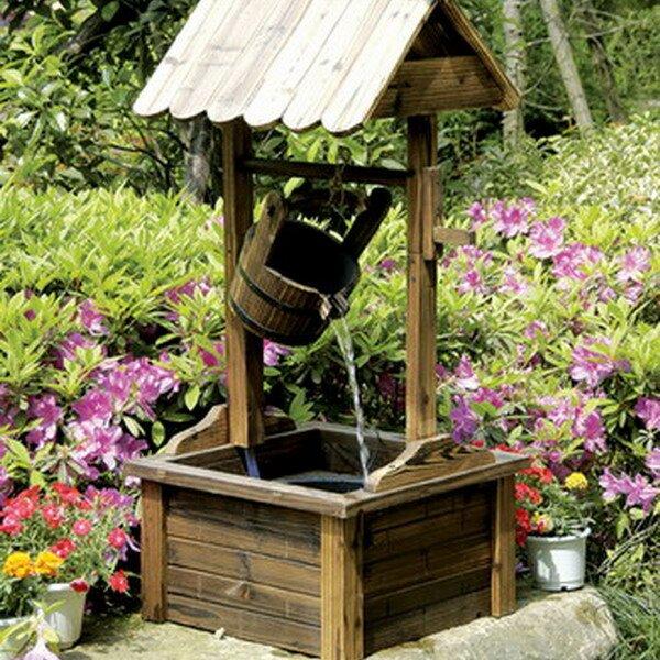 Piersurplus Wood Wishing Well Outdoor Patio Water Fountain