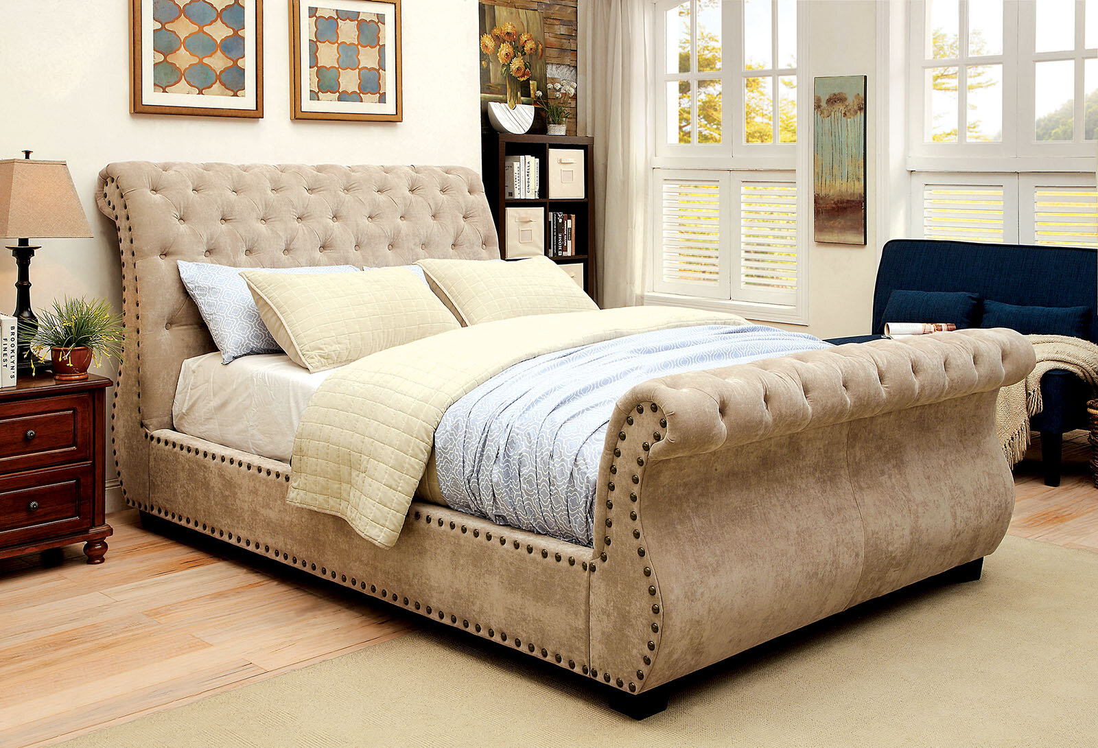 Upholstered sleigh bed frame Queen Wayfair Darby Home Co Gayla Upholstered Sleigh Bed Reviews Wayfair