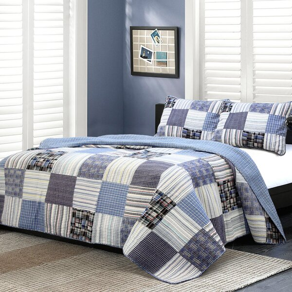 Techstyle Patchwork Upholstered Bedroom Bench Reviews: Cozy Line Home Fashion Daniel Striped Patchwork Quilt Set