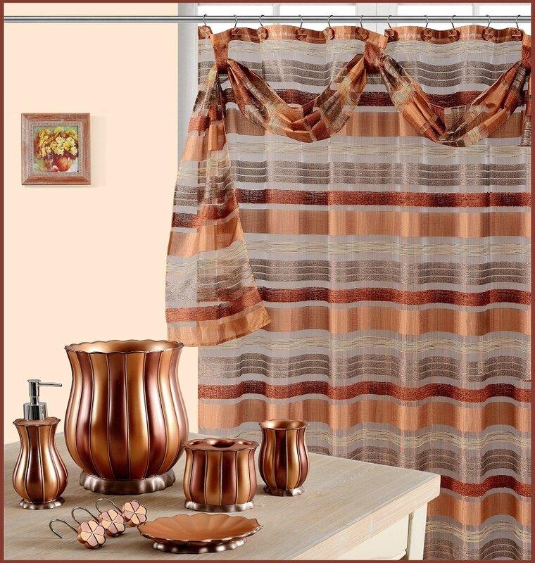 Daniels Bath Elisa Decorative Shower Curtain with Scraft & Reviews ...