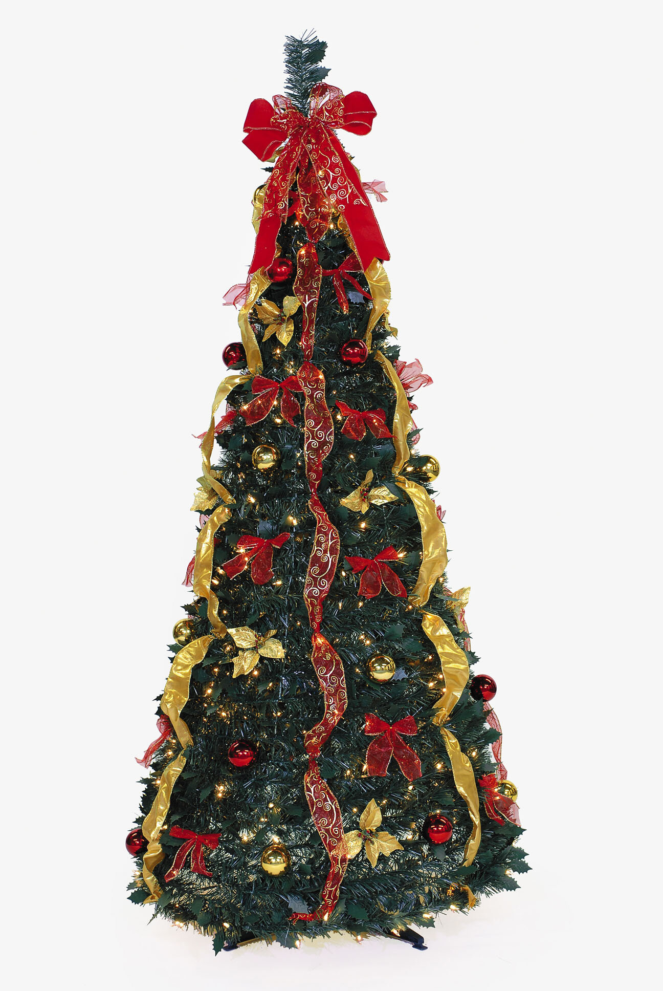 Pop Up 6 Green Pine Artificial Christmas Tree With 350 Clear Lights