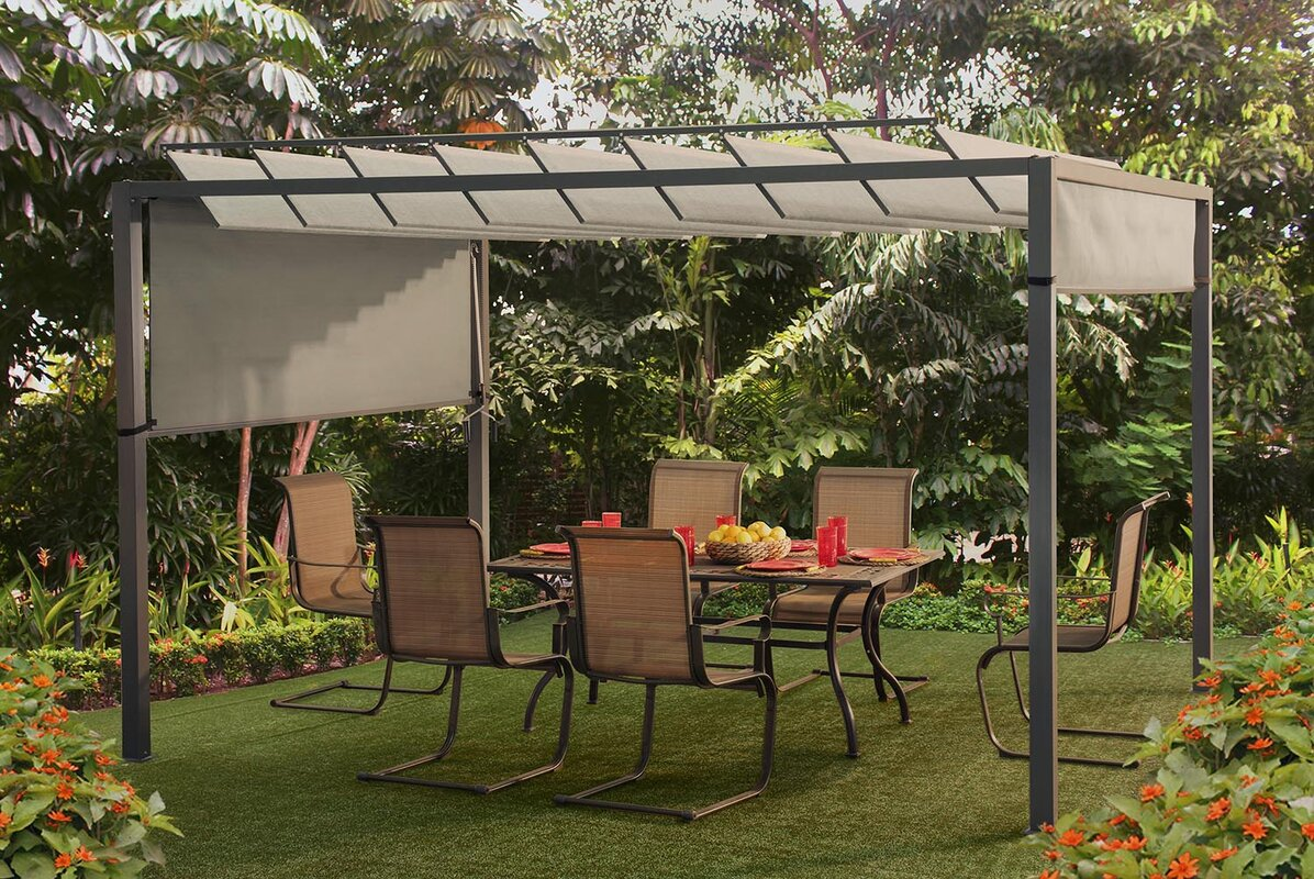 Louvered 8.5 Ft. H x 12 Ft. W x 9.5 Ft. D Pergola - Sunjoy Louvered 8.5 Ft. H X 12 Ft. W X 9.5 Ft. D Pergola & Reviews
