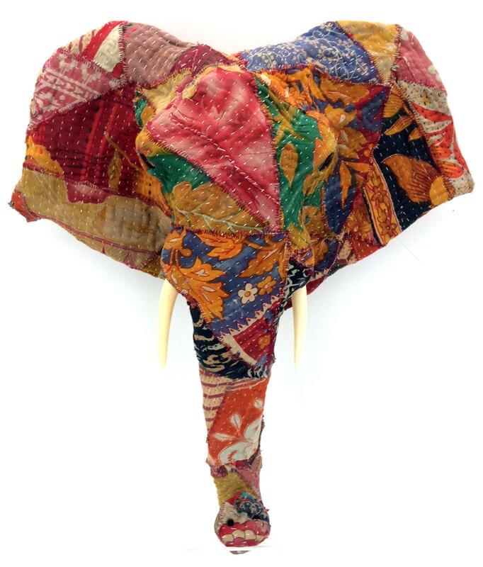 Elephant Wall Decor kmpg vintage sari fabric long nose elephant head wall décor