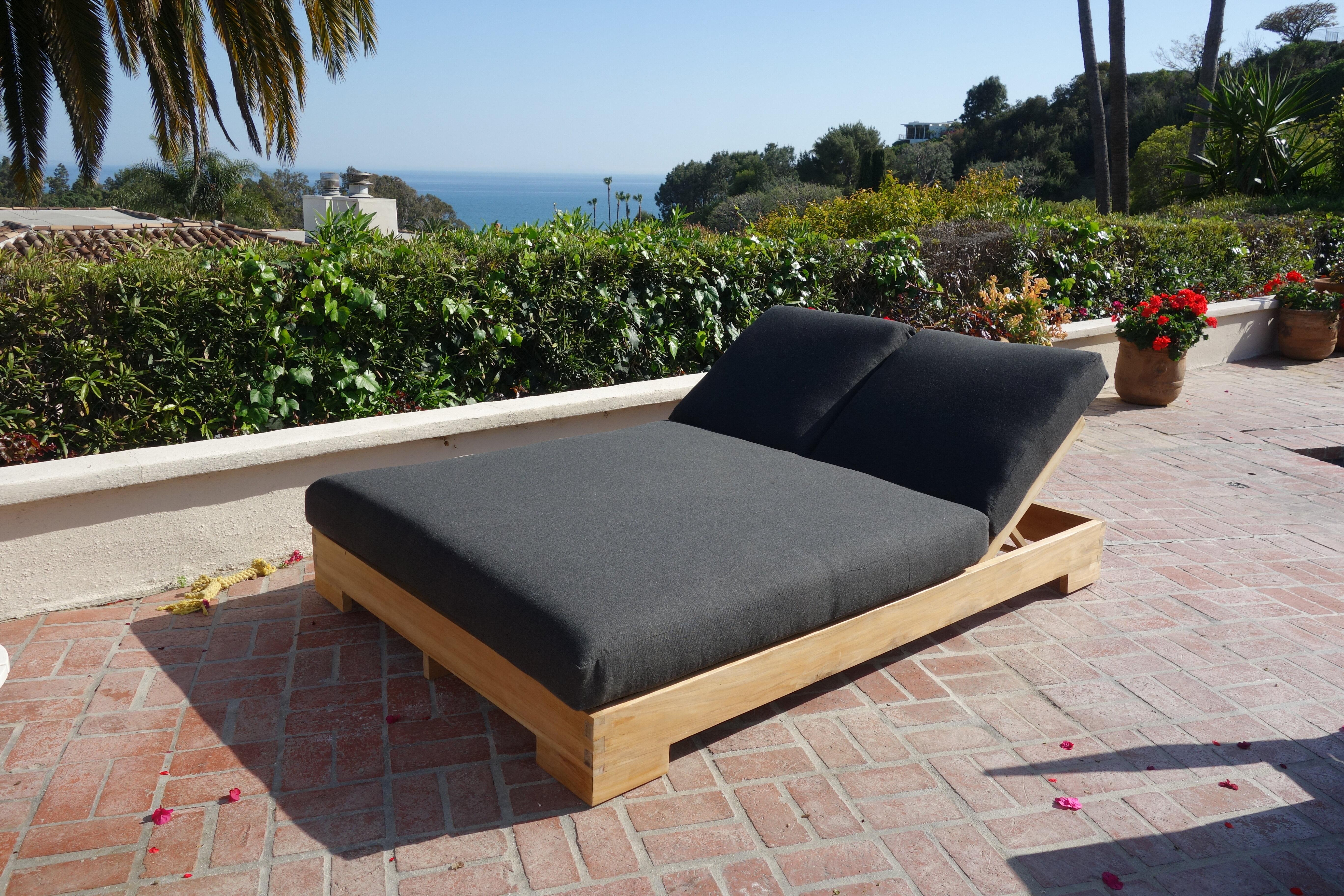 Brayden Studio Attwater Double Reclining Teak Chaise Lounge With Cushion Wayfair