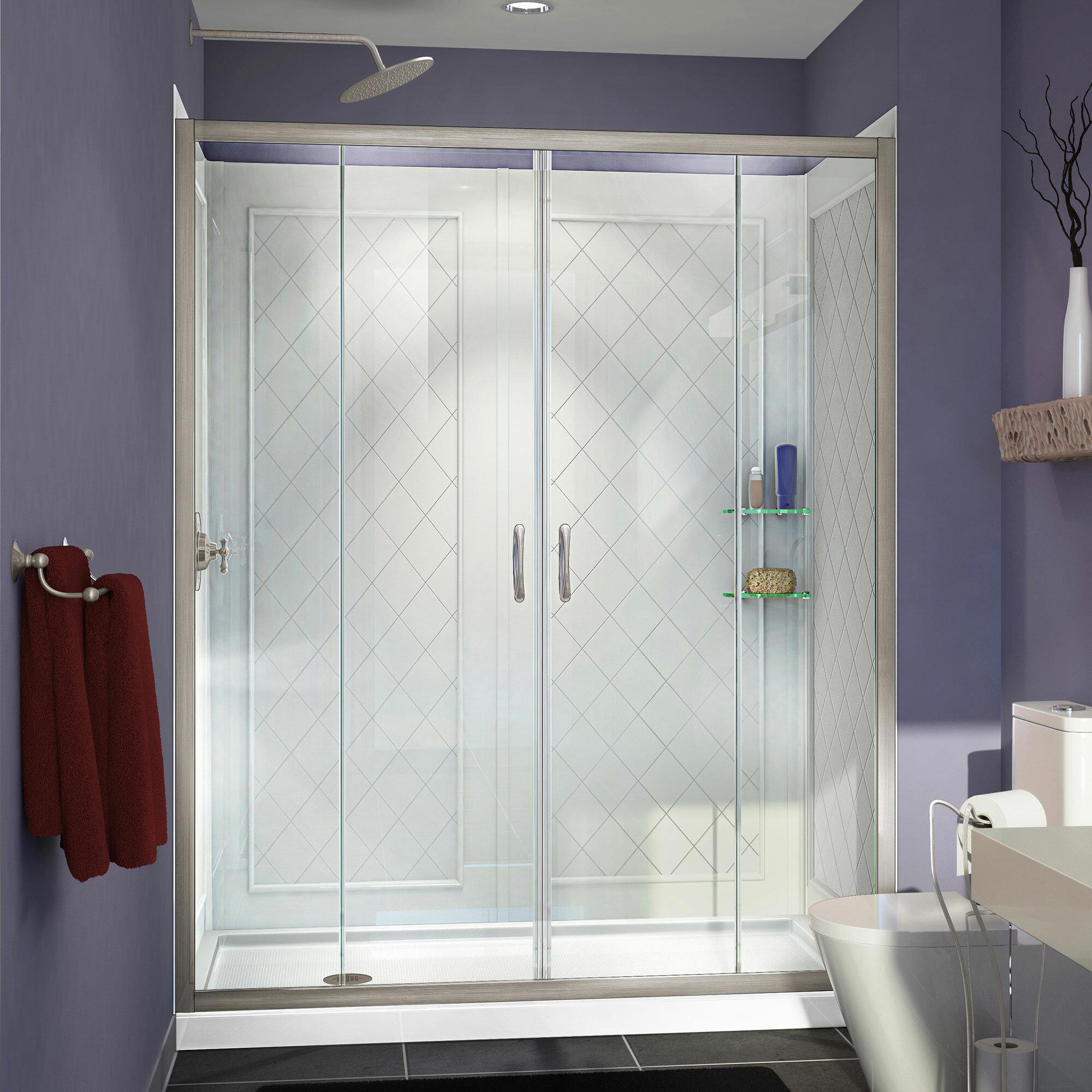 Visions 60 X 30 X 76 75 Sliding Frameless Shower Door