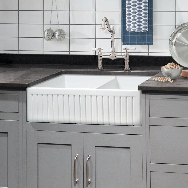 Sutton Place 33 L X 18 W Double Basin Farmhouse Kitchen Sink With Grid