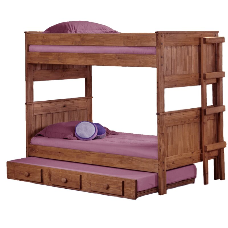 Erickson Stackable Twin Over Twin Bunk Bed with Trundle Bed Frame Color: Mahogany Stain