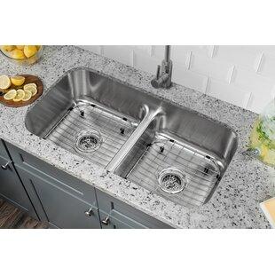 32 38   x 18 13   double bowl kitchen sink 32 38 inch sink   wayfair  rh   wayfair com