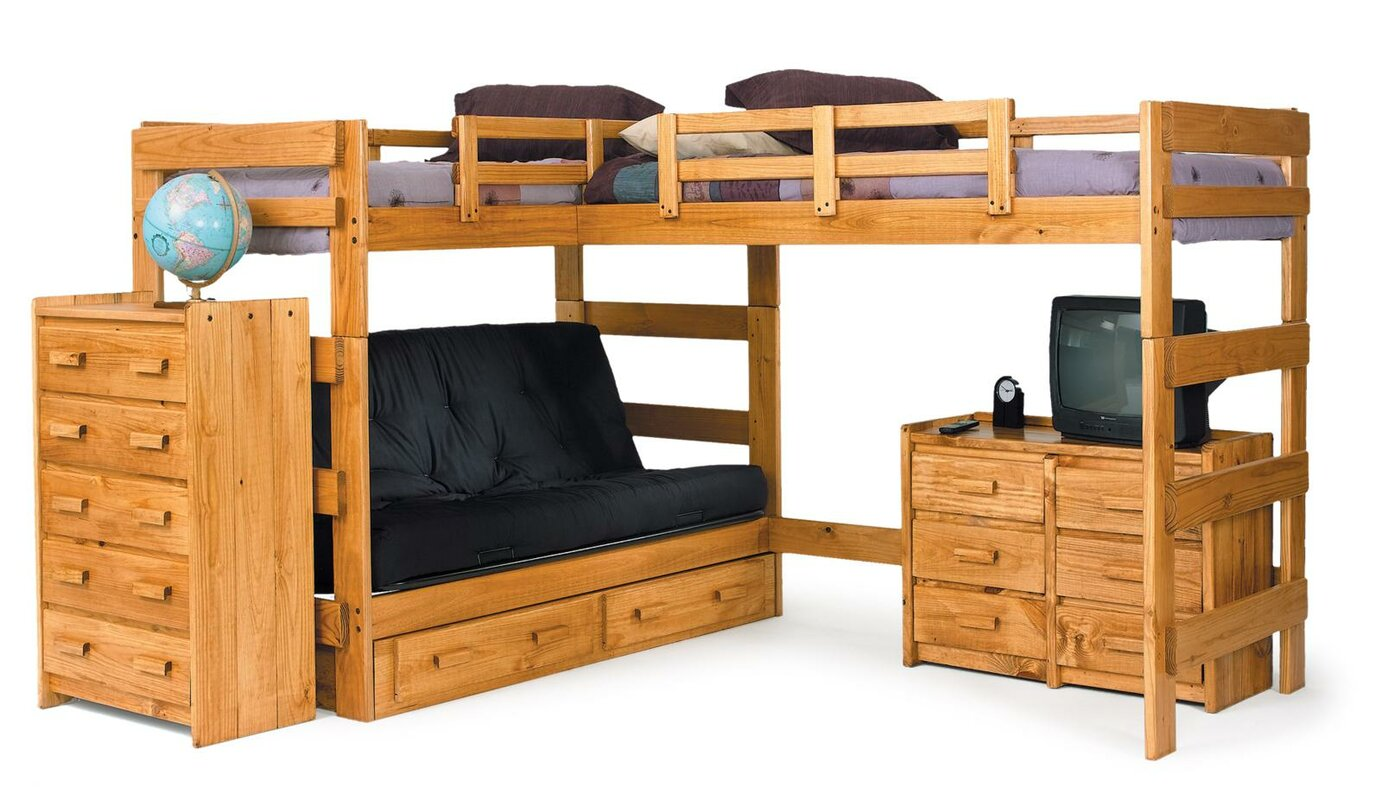 Space Saver Bunk Beds Chelsea Home Lshaped Bunk Bed & Reviews  Wayfair