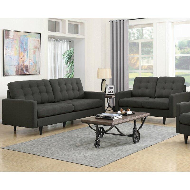Rochester 2 piece living room set allmodern - Living room furniture rochester ny ...