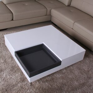 Glossy Functional Coffee Table with Accent Corner by Fox Hill Trading