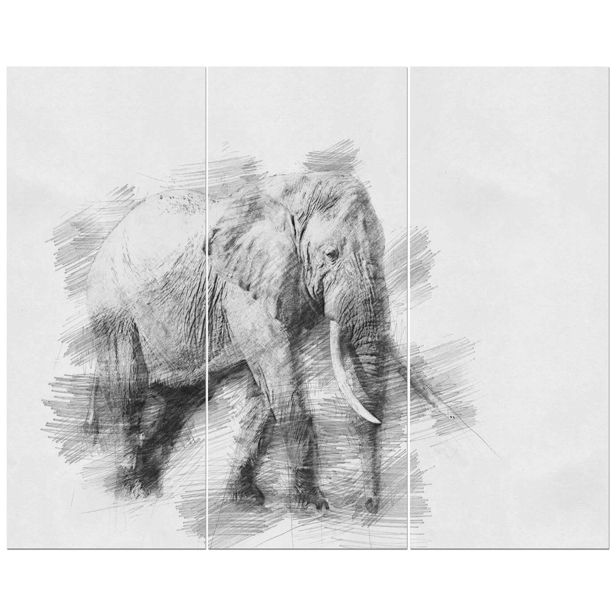 East urban home elephant in black and white pencil sketch drawing print multi piece image on wrapped canvas wayfair