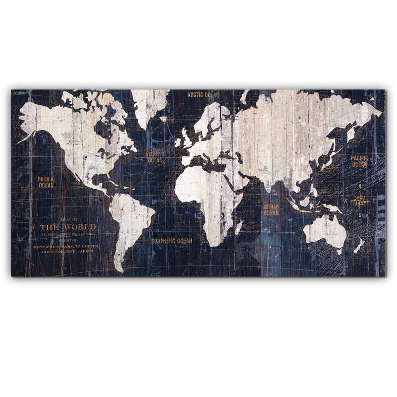 Mercury row old world map blue graphic art on wrapped canvas old world map blue graphic art on wrapped canvas gumiabroncs Choice Image