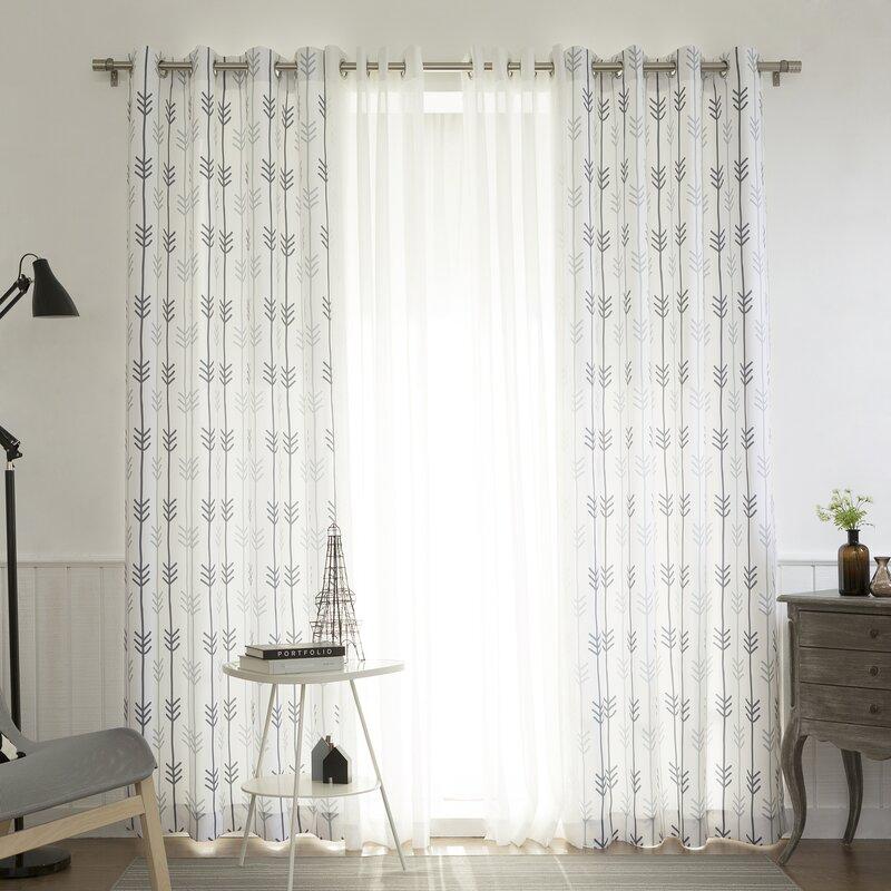 Lippincott Geometric Semi-Sheer Grommet Curtain Panels