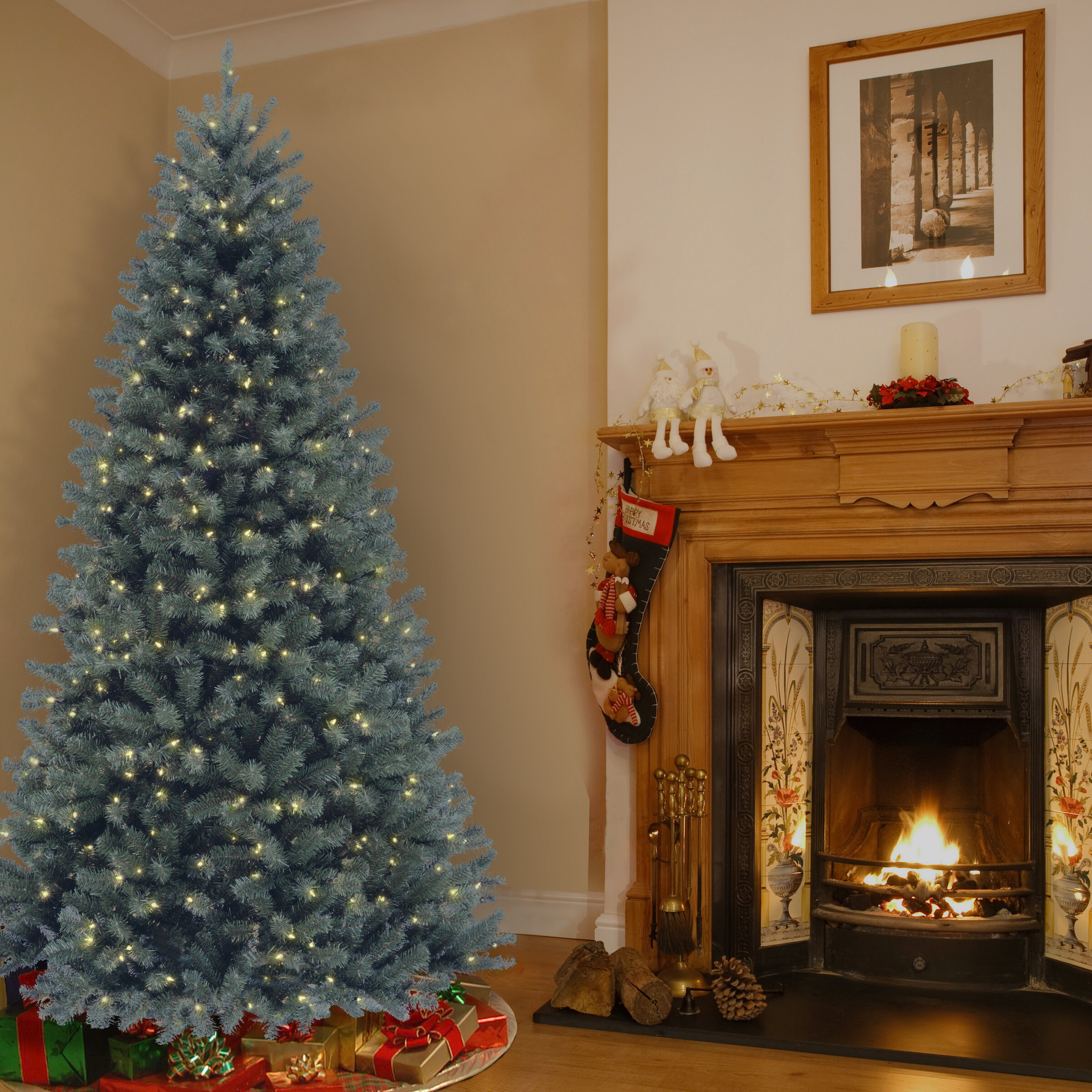 National Tree Co. North Valley Blue Spruce Artificial Christmas Tree with Clear Lights with Stand & Reviews | Wayfair