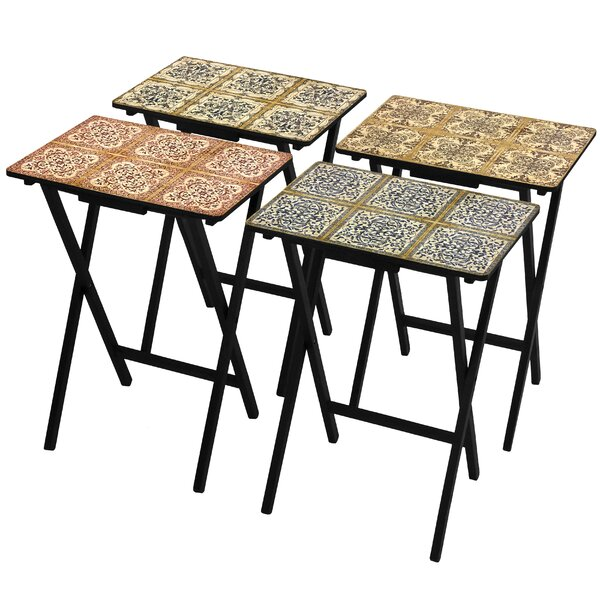 Oriental Furniture 4 Piece Victorian Tile Tv Tray Set With