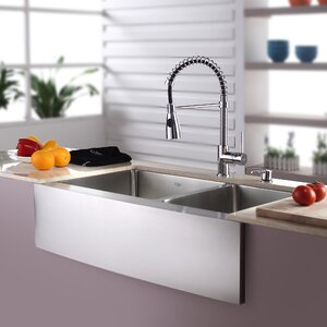 Kitchen Combos 33″ x 21″ Double Basin Farmhouse/Apron Kitchen Sink with Faucet