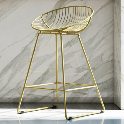 CosmoLiving by Cosmopolitan Ellis 24.5 Bar Stool Color: Brushed Brass Gold