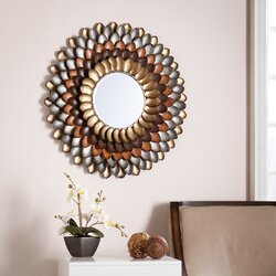 Round Wall Mirrors red barrel studio decorative round wall mirror & reviews | wayfair