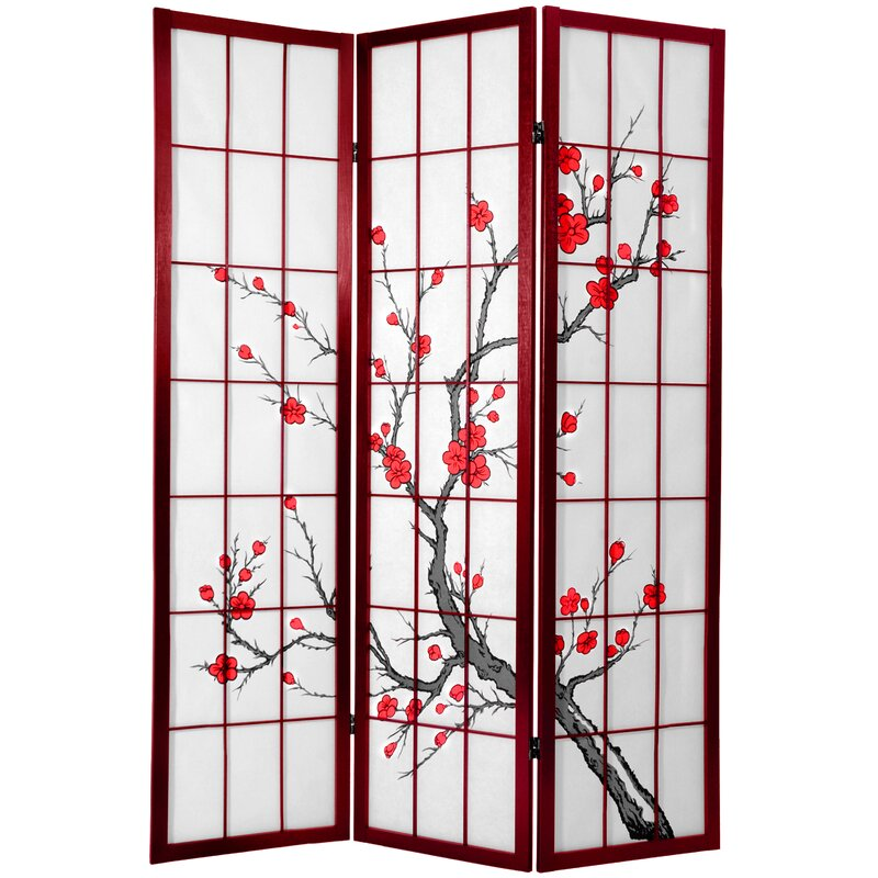 Ryerson Cherry Blossom Shoji Screen 3 Panel Room Divider