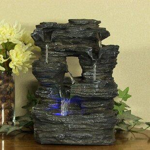 Superior Fiberglass 5 Stream Rock Cavern Tabletop Fountain With Light. By SunnyDaze  Decor