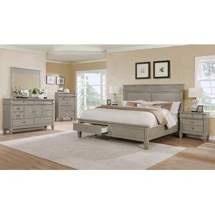Vasilikos Grey Solid Wood Construction Platform 5 Piece Bedroom Set