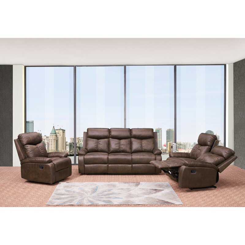 Red Barrel Studio Douglass Circle Reclining 3 Piece Living Room Set Wayfair