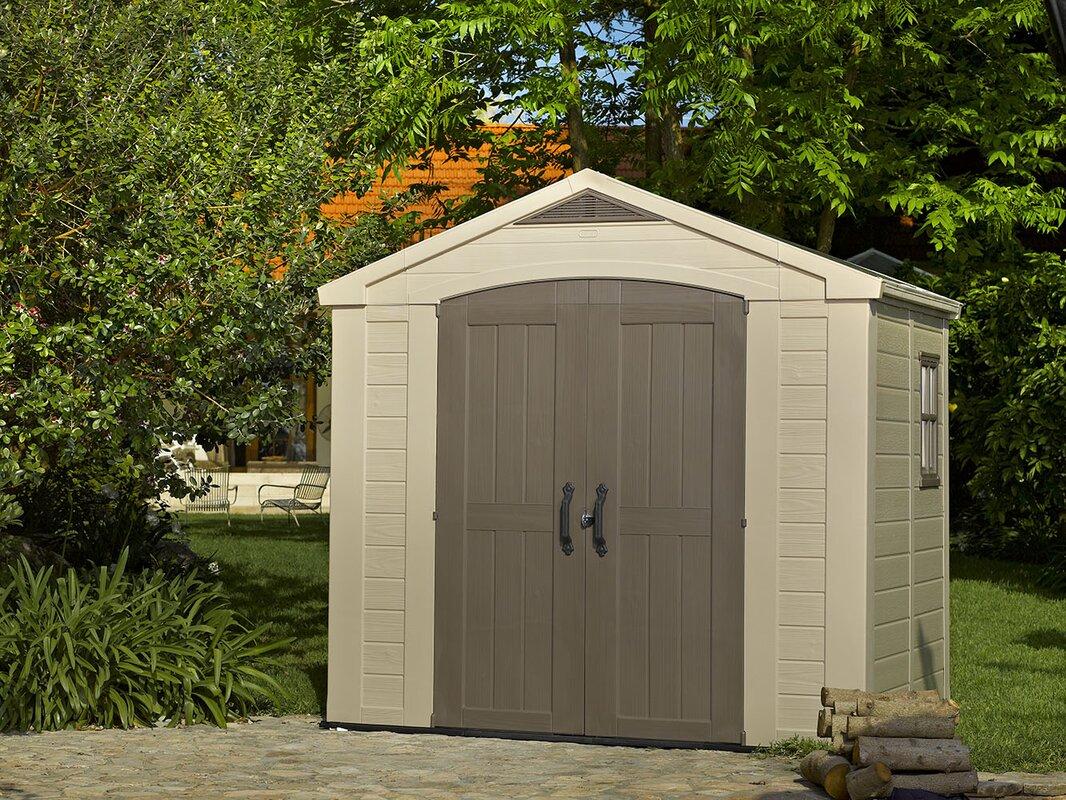 keter factor 8 ft 5 in w x 6 ft d plastic storage shed. Black Bedroom Furniture Sets. Home Design Ideas