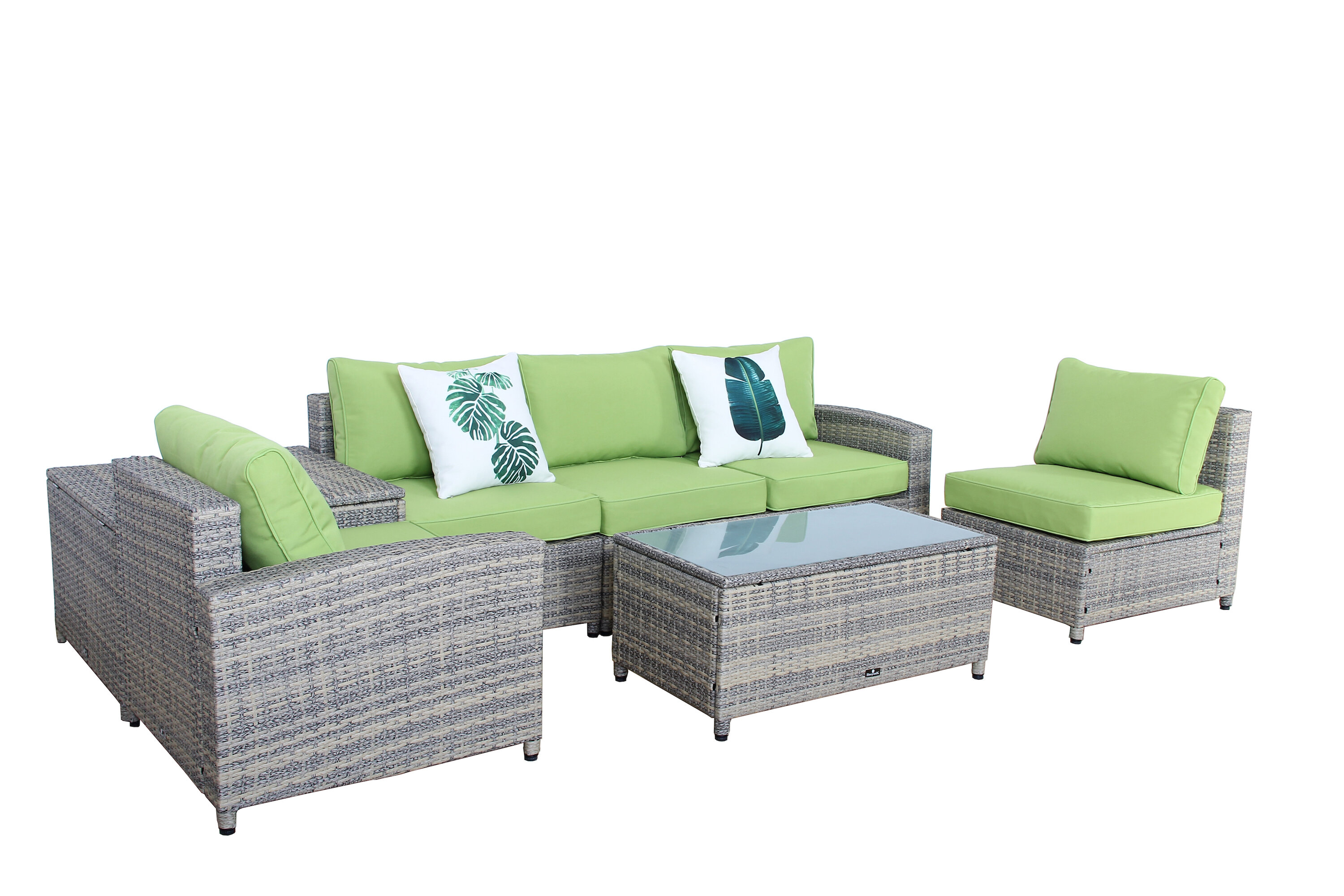 Bayou Breeze Ingrid 7 Piece Rattan Sofa Set with Cushions & Reviews ...