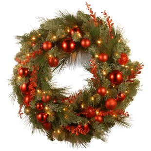 pre lit christmas mixed wreaths with battery operated white led lights - Solar Powered Christmas Wreath