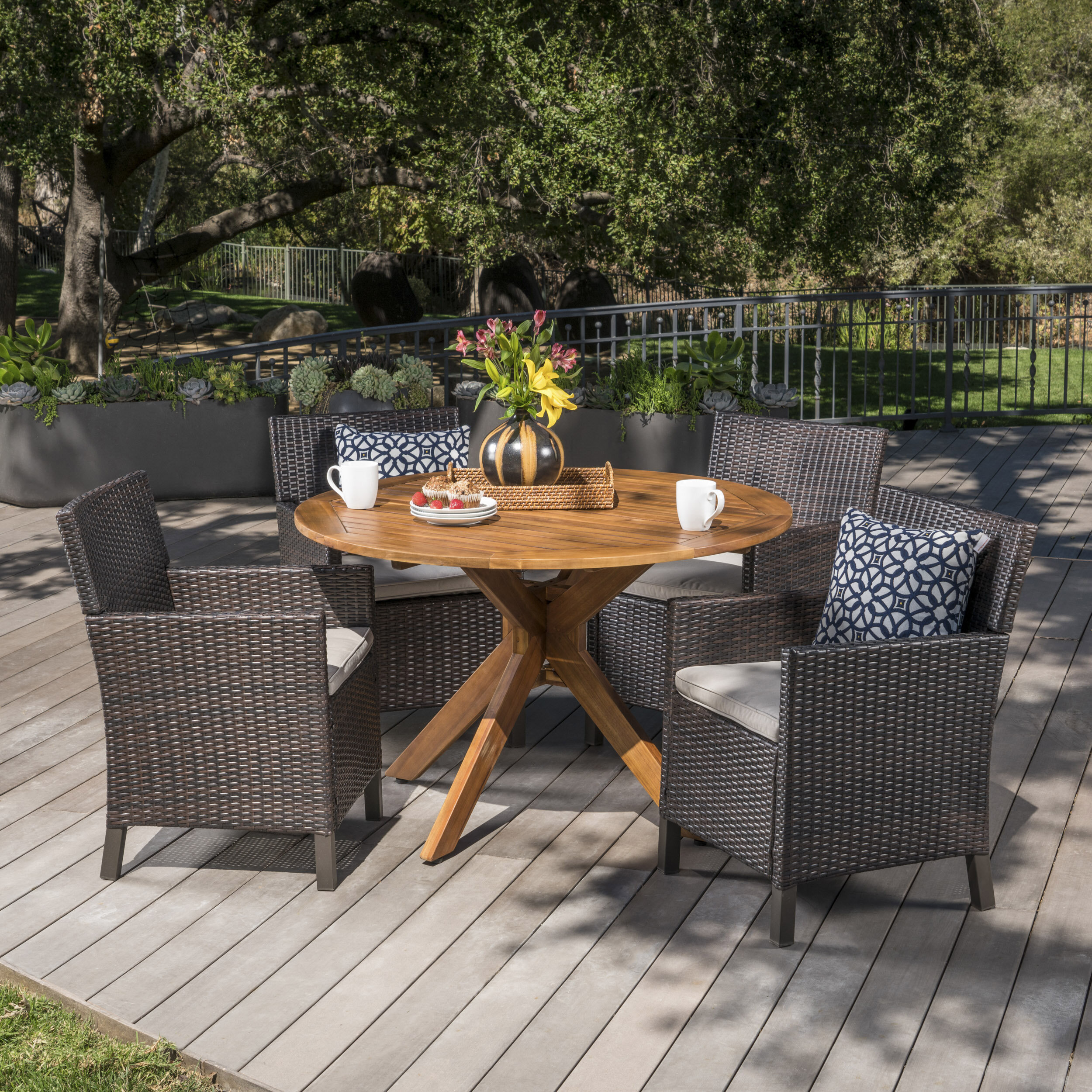 Pilcher Outdoor Wicker Rectangular 5 Piece Dining Set with Cushions